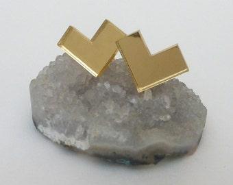 Gold Mirror Lucite Chevron Post Earrings