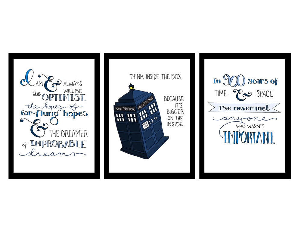 doctor who quotes set of three inspirational by