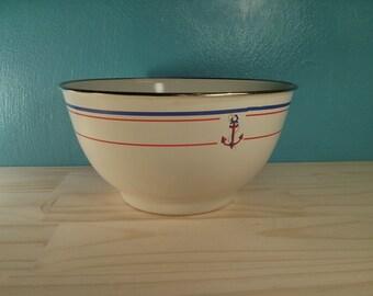 Metal Enamel Anchor Mixing / Serving Bowl - American Picnic - Free Shipping