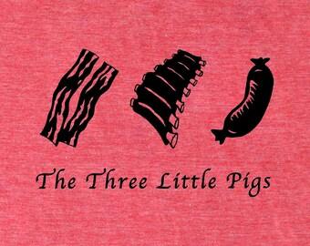 Bacon shirt, Three Little Pigs men's bacon t-shirt, chef shirt, foodie shirt, paleo t-shirt, crossfit shirt, meat, pork, carnivore pig shirt