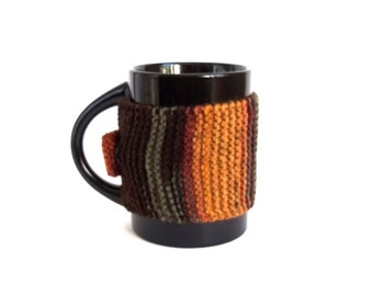SALE - 50%OFF. Brown Knit Coffee Cozy. Knitted Tea Cup Cozy. Brown Mug Cozy.