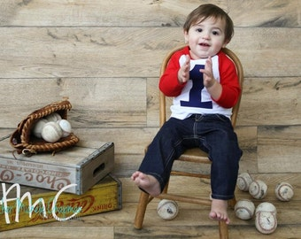 My First Birthday shirt Red and White Raglan Shirt with navy 1 Raglan 1st Birthday TShirt Boys baseball sports outfit balls circles party