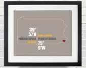Pennsylvania Coordinate Wedding or Anniversary Gift, Any State or Country Map Print, Bride and Groom Names, Place and Date, Bridal Shower