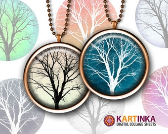 TREES - 1 inch & 1.5 inch size printable digital circles for Round pendants Bezel trays Glass cabochon Mountings cameo settings Bottle caps