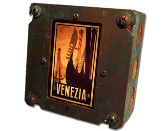 Rustic Venise Italy Luggage Label Night Light!