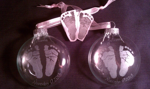Custom Real Baby  Footprint or Handprint Hand Engraved/Etched Glass Ornamen