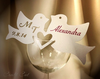 Two Love Birds Wedding Place Cards Personalized place card Wedding love birds Custom couple initials and date Wine glass decor