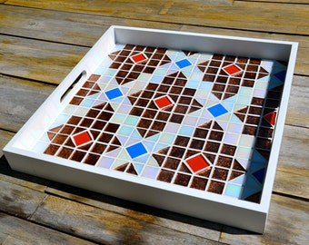Serving tray glass mosaics on white wood
