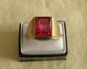 Signature Men's 10K Gold Art Deco Ruby Ring - 6.25 ctw Ruby and Size 9.5 U.S.