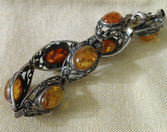 Art Nouveau Sterling Silver Amber Bracelet with Floral Filigree - 9 1/4 inch