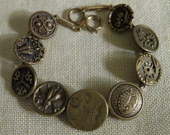Victorian Bug Flower Turtle and Scrolled Button Bracelet - 7 1/4 inch