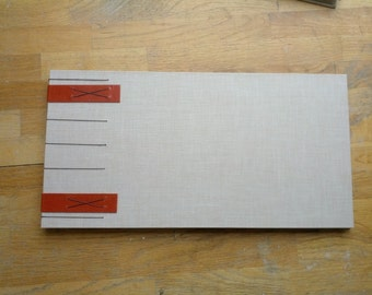 Coptic Guest Book with Linen Cover and a Touch of Red Leather