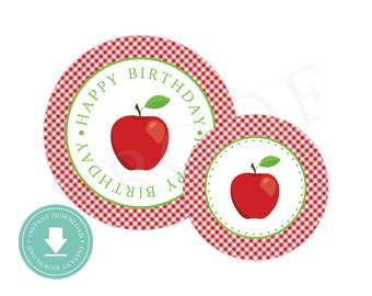 INSTANT DOWNLOAD Apple Party Circles (Apple Birthday Decor, Printable Party Circles, Printable Apple Decorations)
