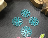 FN-FG-09428- Nickel Free,color enameled,Petite daisy filigree, turquoise blue, 8 pcs