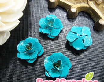 CH-ME-01552D - Color enameled,Layered Rose charm, turquoise blue, 4 pcs