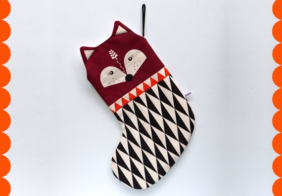 Cute Scandinavian Retro Christmas stocking red brown orange black triangle geo by Gunna Ydri