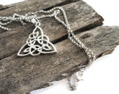 Celtic knot necklace, celtic jewerly, triquetra trinity knot silver plated