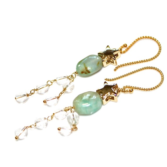 peruvian blue opal earrings gold earrings dangle earrings