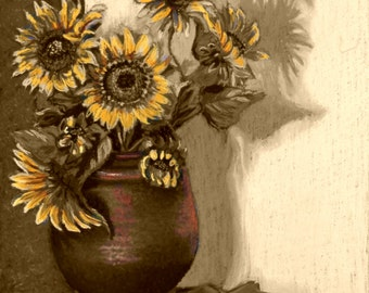 "Sunflowers Fine Art Giclee Print, Still Life With Sunflowers, Copper Pot, Sepia Series, Yellow, Copper, Pastel Painting, Signed 8"" X 10"""