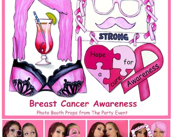 Breast Cancer Awareness Photo Booth Props - printable or ready made