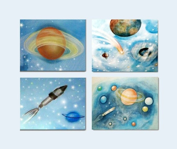 Outer space wall art kids decor kids wall art by handpainting for Decor outer space