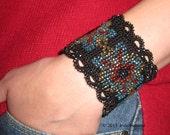 Glass bead bracelet with button closure handmade crochet, womens accessories, womens jewelry, costume jewelry, gothic cuff