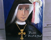 Set of 5 Prayer Cards 4 Divine Mercy Prayer Cards with Divine Mercy Chaplet Prayer and 1 St. Faustina Holy Card