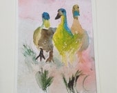 Original watercolor card, birds of nature, geese, duck, unique, watercolor art, blank card