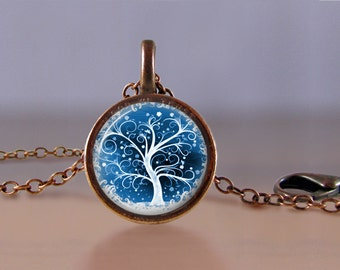 Jewelry - Lucky Penny Necklace Art - Tree of Life 2 - Choose Chain Length - Tree of Life Jewelry - Lucky Penny Necklace - One Cent Jewelry