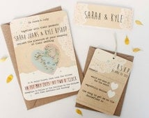 Map wedding invitation - rustic bun dle wedding invitation ...