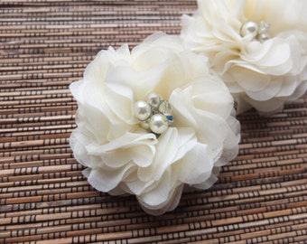 ONE Chiffon Rose Hair Fascinator, Handmade Soft Chiffon Flower Brooch with pearls & Crystal accents