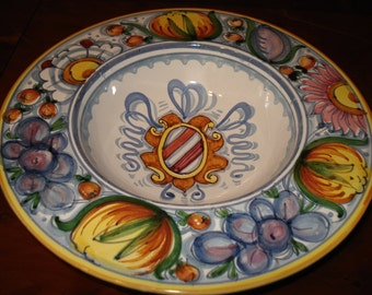 Italian Hand-Painted Ceramic Deruta Style Bowl with Coat of Arms Wall Hanging, Red Coat of Arms