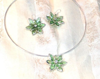 Stained Glass Necklace & Earrings in Spring Green With Crystals Handmade Choker Set by NorthCoastCottage Jewelry Design