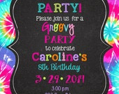 Peace Love Party  Birthday invitations printable or digital file- Tie Dye