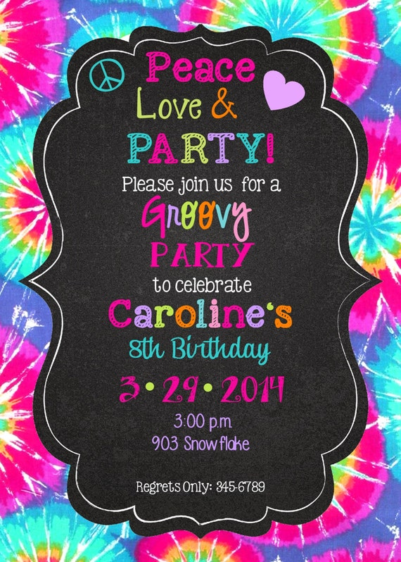 Tie Dye Birthday Invitations is awesome invitations ideas