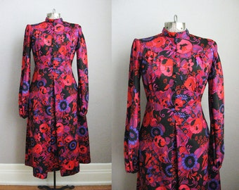 1960s Party Dress Purple Pink Long Sleeve Vintage High Collar Psychedelic Flowers / Medium