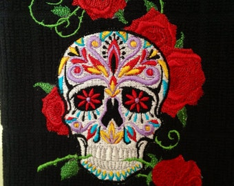 Sugar skull kitchen towel - choose your colors