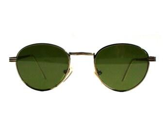 Vintage 1980s Round Sunglasses / Gatsby P3 Glasses / John Lennon Glasses / Green Lenses / Gold Frames / O'Malley Sunglasses for Men Women