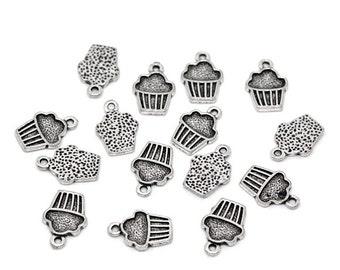 10 Pieces Antique Silver Cupcake Charms