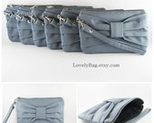 SUPER SALE - Set of 9 Bridesmaids Clutches, Wedding Clutches / Gray Bow Clutches - Made To Order