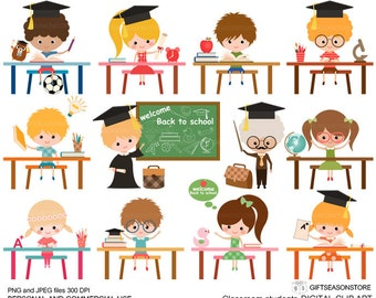 Classroom student digital clip art for Personal and Commercial use - INSTANT DOWNLOAD