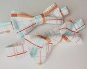Boys Plaid Bow Tie- Mint Orange and Pink bow tie- Sizes newborn-adult
