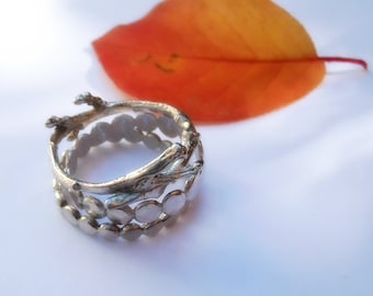 Twig Ring Stacking Set in Sterling Silver - Hammered Dots and Twig - Sizes 5 through 8 - Made To Order