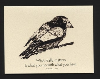Card. Birds. Evening Grosbeak block print by Jesse Larsen on quality blank card with pithy quote. Free US shipping. Timeless, smart