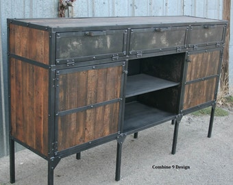 Rustic Industrial Buffet/Hutch. Vintage Industrial Media Console. Modern . Steel and Reclaimed Wood Sideboard. Credenza.