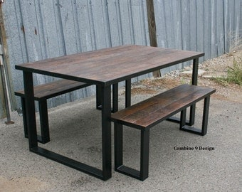 Dining Set made of Steel and Vintage Reclaimed Wood.  Urban. Modern. Table, Bench. Industrial style. Mid Century. Custom, Made to order.