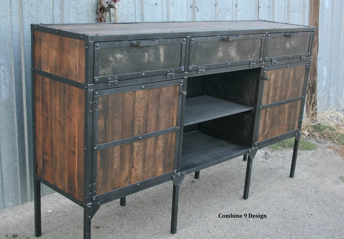 rustic industrial buffet hutch vintage industrial media. Black Bedroom Furniture Sets. Home Design Ideas
