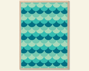 PATTERN | Fish Scale Poster : Modern Illustration Retro Art Wall Decor Print