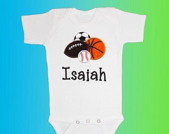 Baby Shirt Bodysuit - Personalized Applique - Sports Balls - Embroidered Short or Long Sleeved
