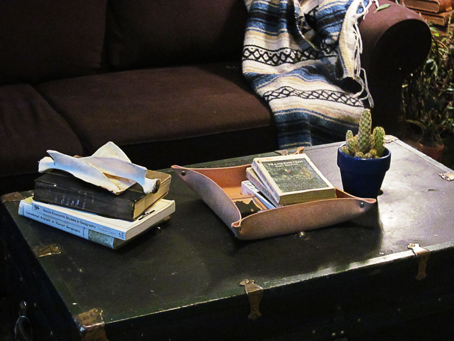 Leather Coffee Table Tray Handcrafted In By Cicadaleathercompany